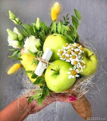 Букеты из фруктов своими руками из яблок 38